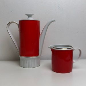 Vintage orange MCM COFFEE pot w/ lid and creamer